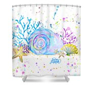Seashells And Coral Watercolor Shower Curtain