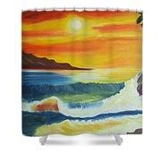 Seashore And Sunrise Shower Curtain