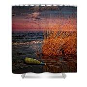 Seaside Bottle At Sunset Shower Curtain