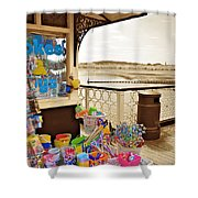 Seaside Buckets And Spades For Sale On Llandudno Pier Shower Curtain
