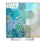 Seaside City- Art By Linda Woods Shower Curtain