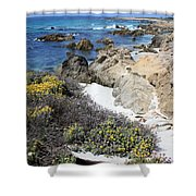 Seaside Flowers And Rocky Shore Shower Curtain