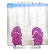 Seaside Holiday Concept With Copyspace Shower Curtain