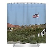 Seaside Patriotism Shower Curtain