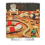 Seaside Ropes And Nautical Decks Shower Curtain