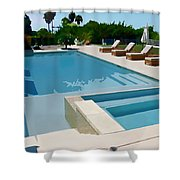Seaside Swimming Pool As A Silk Screen Image Shower Curtain
