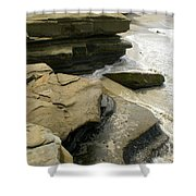 Seaside With Rocks On Left Shower Curtain