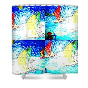 Seaside-regatta Shower Curtain