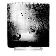 Seasons End Deer Geese Shower Curtain