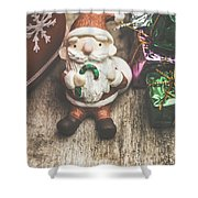 Seasons Greeting Santa Shower Curtain