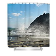 Seaspray At Mevagissey Harbour 2 Shower Curtain