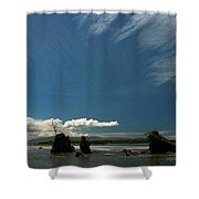 Seastacks And Clouds Shower Curtain