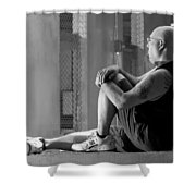 Seated In The Darkness Shower Curtain