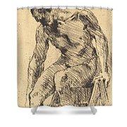 Seated Male Nude (sitzender M?nnlicher Akt) Shower Curtain