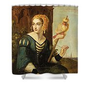 Seated Noble Lady With Distaff Shower Curtain