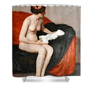 Seated Nude With Sculpture Shower Curtain