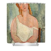 Seated Young Girl In A Shirt Shower Curtain