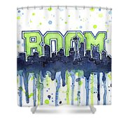 Seattle 12th Man Legion Of Boom Watercolor Shower Curtain