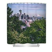 Seattle And Mt. Rainier Vertical Shower Curtain