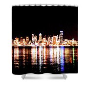 Seattle At Night - From Alki Beach Shower Curtain