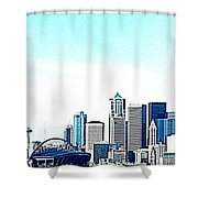 Seattle Blue Shower Curtain