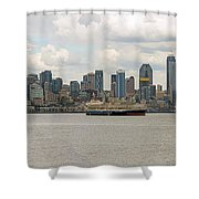 Seattle City Skyline Along Elliott Bay Shower Curtain