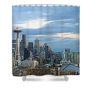 Seattle City Skyline At Dusk Panorama Shower Curtain