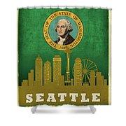 Seattle City Skyline State Flag Of Washington Art Poster Series 017 Shower Curtain