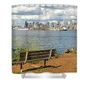 Seattle City Skyline View From Alki Beach Shower Curtain