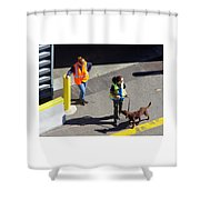 Seattle Dock Dog Workers 1 Shower Curtain
