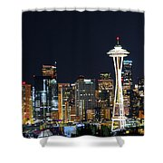 Seattle Night Sky Shower Curtain