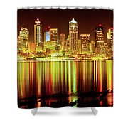 Seattle Panorama Reflection In Elliot Bay Shower Curtain by Tim Rayburn
