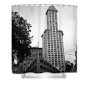 Seattle - Pioneer Square Tower Bw Shower Curtain
