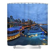 Seattle Skyline From The Waterfront At Blue Hour Shower Curtain