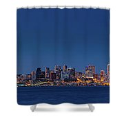 Seattle Skyline In Twilight With Clear Sky Shower Curtain