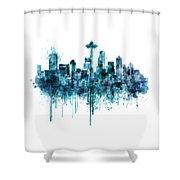 Seattle Skyline Monochrome Watercolor Shower Curtain