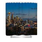 Seattle Skyline Panorama Shower Curtain