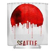Seattle Skyline Red Shower Curtain
