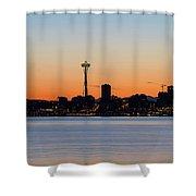 Seattle Skyline Silhouette At Sunrise Shower Curtain