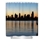 Seattle Skyline Silhouette At Sunrise From The Pier Shower Curtain