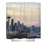 Seattle Skyline With Mount Rainier During Sunrise Panorama Shower Curtain
