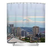 Seattle Skyline With Mt Rainier In Clouds Shower Curtain