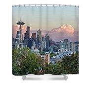 Seattle Washington City Skyline At Sunset Shower Curtain