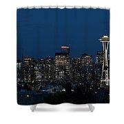 Seattle Washington Space Needle And City Skyline At Night Shower Curtain