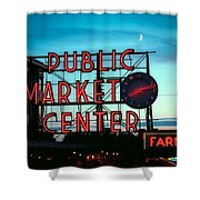 Seattle's Public Market Center At Sunset Shower Curtain