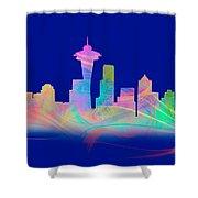 Seatttle Skyline Rainbow Watercolor Shower Curtain