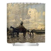 Seaweed Gatherers Shower Curtain by Terrick Williams