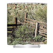 Secluded Historic Corral In Sonoran Desert Shower Curtain