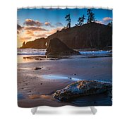 Second Beach Sunset Shower Curtain