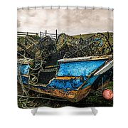 An Old Boat Turned In A Fyke Storage Place. Second Life.i Found This Near The Sea In Uig, Scotland. Shower Curtain